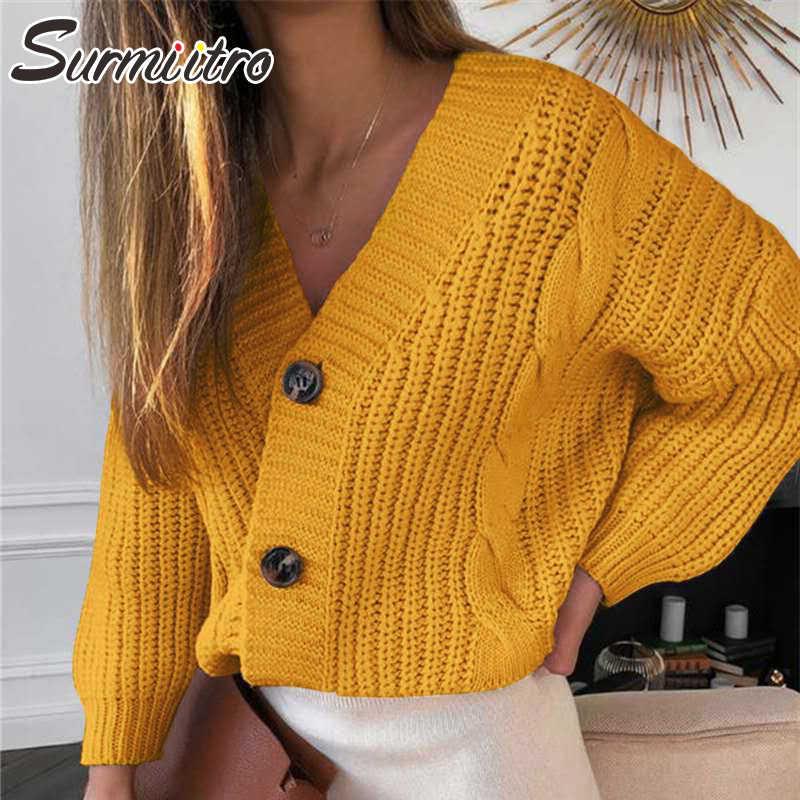 SURMIITRO büyük boy kaba örme hırka kadın 2020 sonbahar kış uzun kollu hırka kadın kazak ceket sarı triko