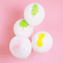 Flamingo party Balloons Decorations Pineapple Leaf Printed Baloons For Birthday Decorations Summer Hawaiian Party Supplies hollowed leaf printed hawaiian shirt