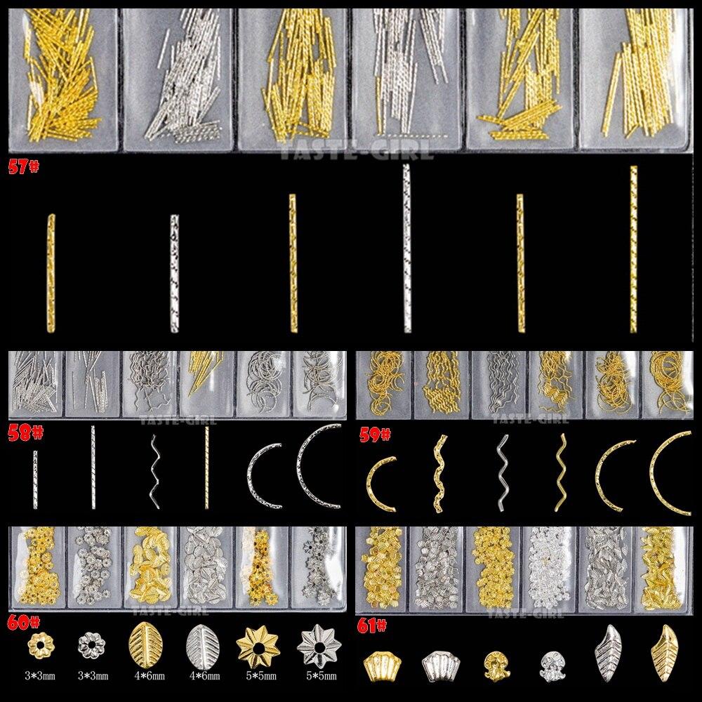 6 ячеек в упаковке, 3D золотистые, серебристые, металлические Смешанные изогнутые полоски, полоски, листья, украшения, подвески для маникюра, ...
