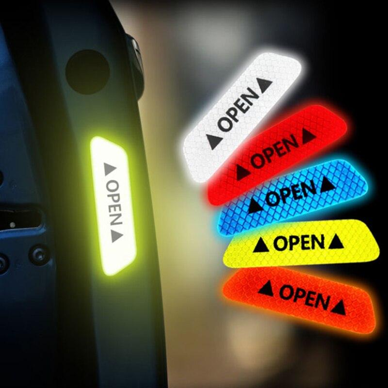 Autocollants de portes de voiture, 4 pièces, ruban réfléchissant, accessoires universels pour Skoda Octavia A2 A5 A7 Fabia Rapid superbe