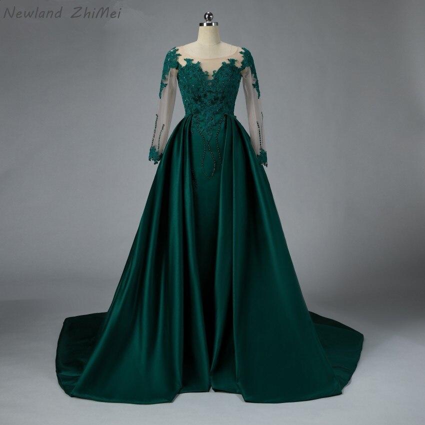 Newland ZhiMei arabe vert émeraude robe de bal de luxe détachable Train Satin dentelle perlée robe formelle pour le thème de la fête musulmane