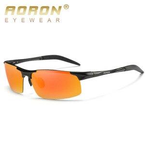Image 2 - AORON jazdy spolaryzowane okulary aluminiowa rama sportowe okulary mężczyźni kierowcy Retro gogle okulary UV400 przeciwodblaskowe