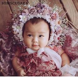 0-10 Yrs Newborn Floral Bonnet Baby Adult Family Flower Hat Photography Parent-child Garden Simulation Flower Cap Photo Props