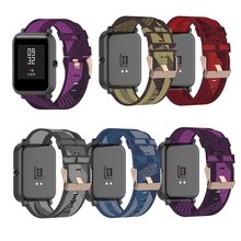 Durable Nylon Denim Watch Strap 20MM Stripe Band for Samsung Galaxy 42MM Huawei GT2 42MM/Amazfit GTR