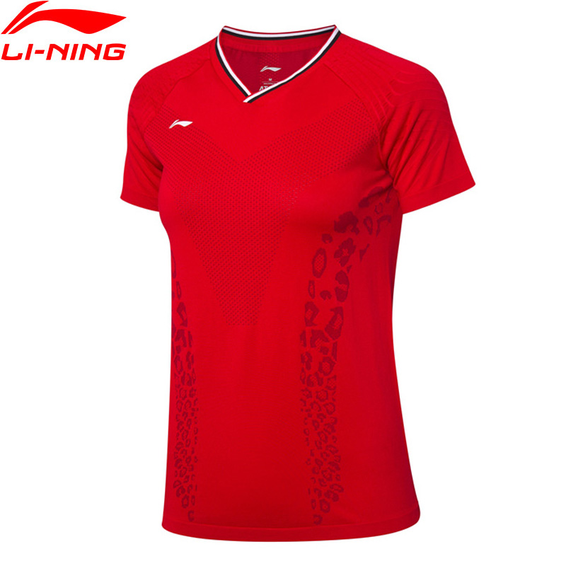 Li-Ning Women Badminton Competition Top National Team Fans Version Breathable T-Shirts ATDRY LiNing Sports Tee AAYP098 WTS1532