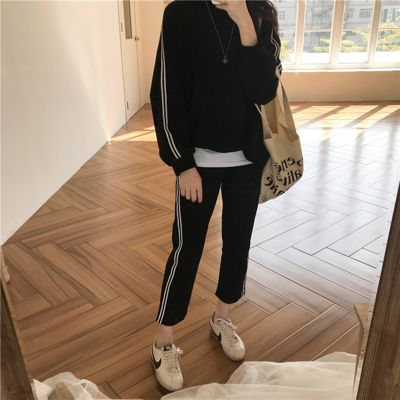 Z37157 [Yellow Zheng]  Spring Korean-style Sports Leisure Suit Hoodie Tops Elastic High-waisted Straight-leg Pants Women's