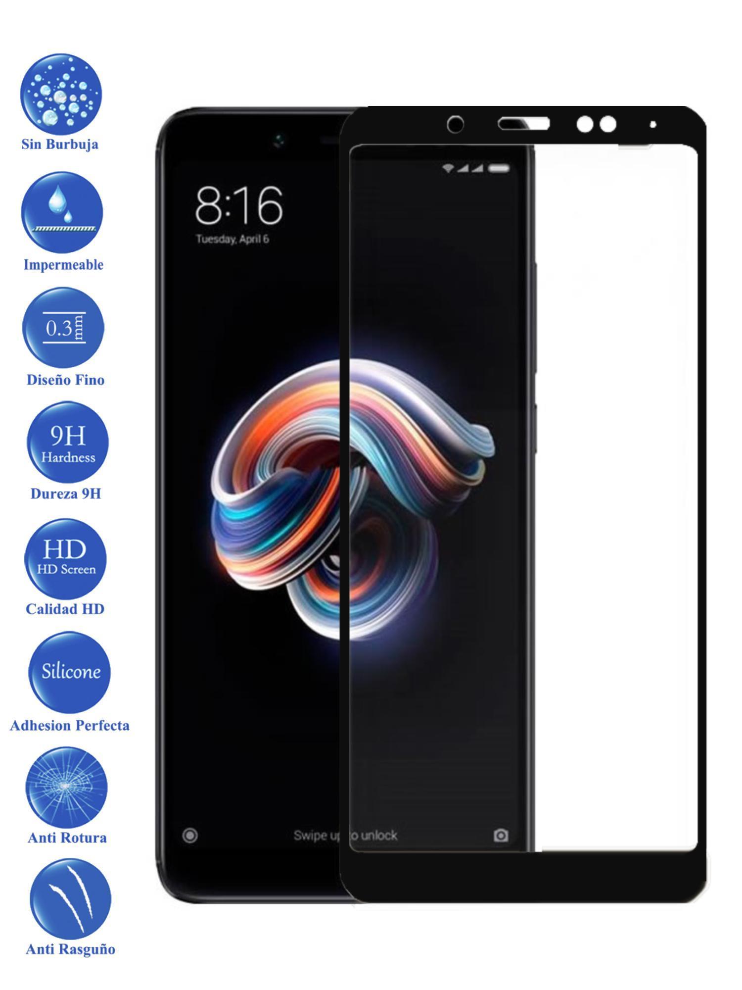 Protector De Pantalla Para Xiaomi Redmi Note 5 Negro Completo Cristal Templado