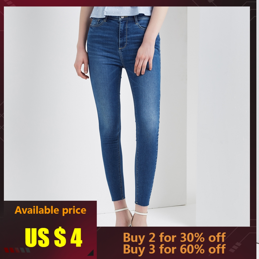 Metersbonwe Slim   Jeans   For Women   Jeans   Basic Design Woman Denim Ankle-Length Pencil Pants High Quality Stretch Waist Women   Jeans