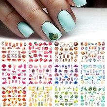 12 pçs etiqueta do prego transferência de água adesivos misturados colorido verão frutas bolo decalques envolve ponta arte do prego decoração diy manicure