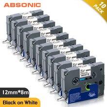Absonic 10PCS TZe 231 TZ 231 12mm Schwarz auf Weiß Laminiert Label Band Kompatibel für Brother P Touch PT D210 PT H110 LabelMaker
