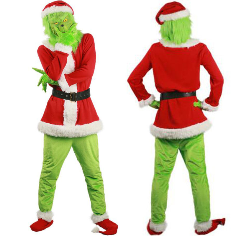 Santa Grinch Cosplay Costume How The Grinch Stole Christmas Suit Outfits Adult Halloween Party Costume Cosplay Mask Prop