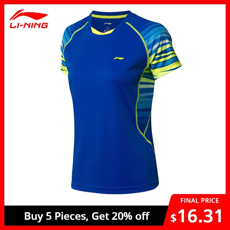 Li-Ning Women Badminton T-Shirt Competition Tees Comfort Seamless LiNing Li Ning Breathable Sports Tops T-shirts AAYN102 WTS1438