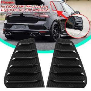 New 2x Car Rear Window Louver Shutter Side Vent Cover Trim For VW For GOLF MK7 MK7.5 2014-2019 For GTI / GTD / R MODELS