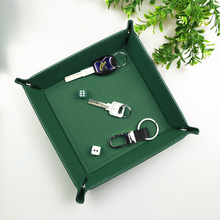 Creative PU Leather Storage Tray Collapsible Box Phone Key Wallet Coin Desktop Sundries Bins Accessories