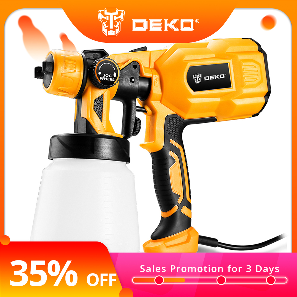 DEKO Spray Gun, 550W 220V High Power Home Electric Paint Sprayer, 3 Nozzle Easy Spraying And Clean Perfect For Beginner