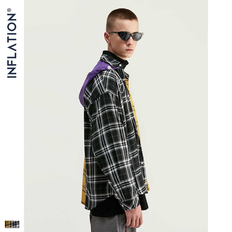 Inflatie 2020 Aw Loose-Fit Check Shirt Voor Mannen Oversized Hooded Shirt In Zwart Geel Herfst Flanel Plaid Hooded shirt 92132W