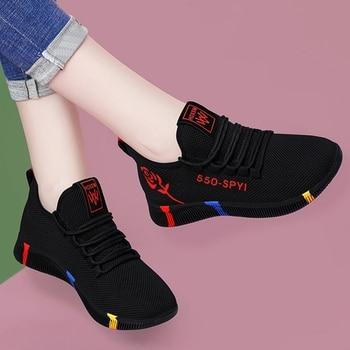 Кроссовки женские сетчатые, повседневная обувь, дышащие, на платформе, модные, весна 2021