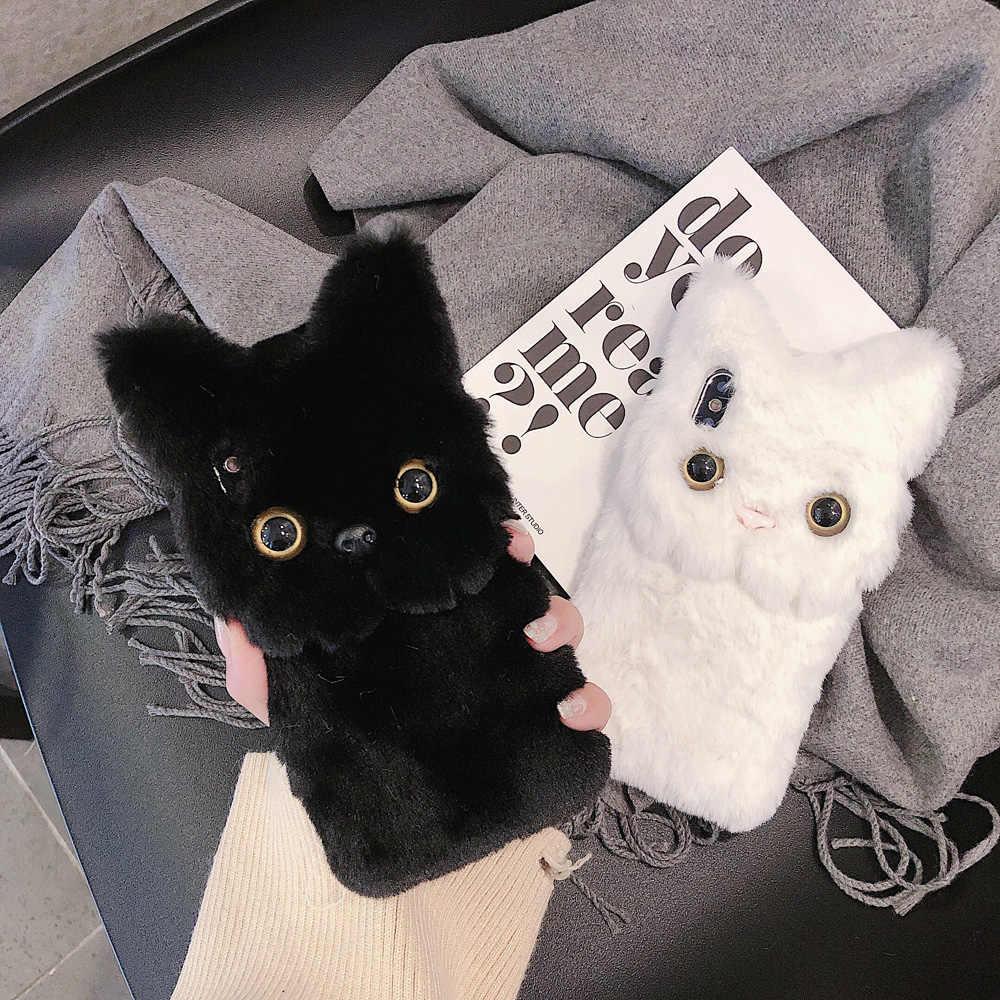 ฤดูหนาว WARM Plush สำหรับ iPhone XS MAX XR X 11 PRO MAX แมวน่ารัก Furry fluffy FUR COVER สำหรับ iPhone 6 6S 7 8 PLUS