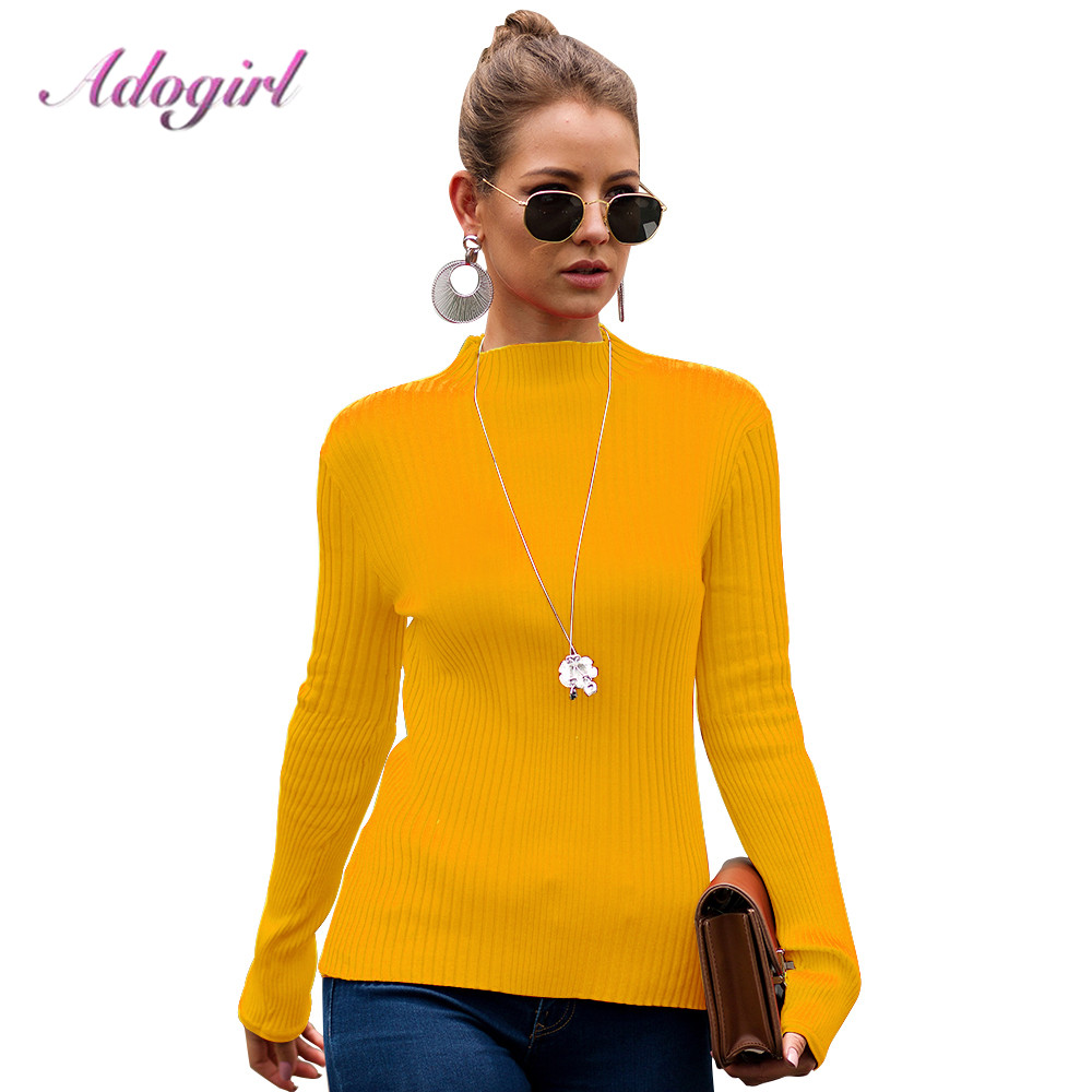Sweater Women Winter Antumn Casual Solid Turtleneck Long Sleeve Slim Knitted Pullover Outwear Jumper Tops Pull Femme Jersey Coat