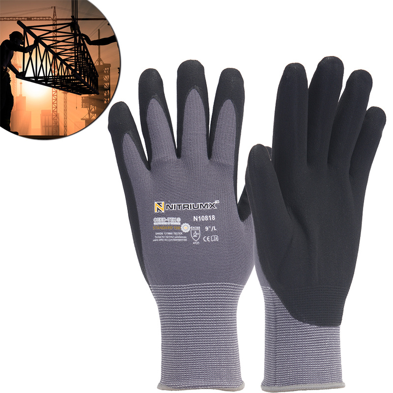 Nylon PU Nitrile Safety Coating Work Gloves Palm Coated Gloves Mechanic 15 Gauge Working Gloves M/L