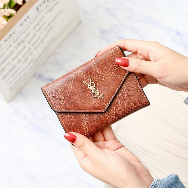 2019 Wallet Women Leather Short Purse Credit Card Holder Female Casual Mini Bag Luxury Woman Clutch Hasp Lady Coin