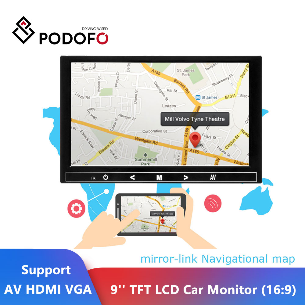 Podofo 9'' Car Monitor Reverse Backup Parking TFT LCD Display Rearview Monitor Mini TV & Computer Display Support AV HDMI VGA|Car Monitors| |  - title=