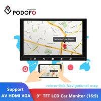 Podofo 9'' Car Monitor Reverse Backup Parking TFT LCD Display Rearview Monitor Mini TV & Computer Display Support AV HDMI VGA