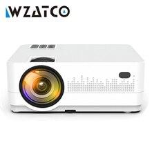 WZATCO HD 720P 150 นิ้วแบบพกพา Mini 3D LCD LED 4 K โปรเจคเตอร์ Android 9.0 WIFI อุปกรณ์เสริมโฮมเธียเตอร์เกมภาพยนตร์ Cinema Proyector