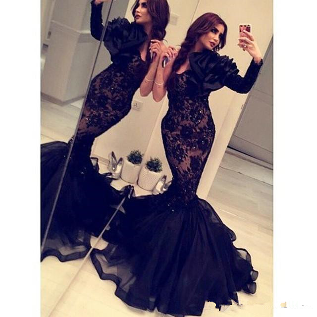 Arabic India Formal Mermaid Evening Dresses Long Sleeves Black Lace Organza Occasion Gowns Crystals Backless Cheap Prom Dress