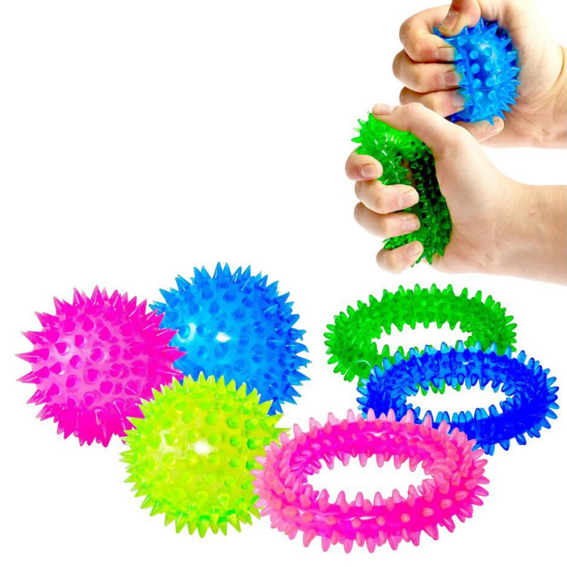 6Pcs/lot Kid Squeeze Sensory Toy (3 Balls + 3 Rings) - Squeeze And Bounce Silicone Toys For Pressure Release New