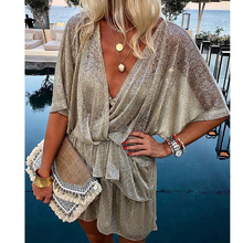 Yesexy 2019 Glitter Sexy Deep V Neck Batwing Sleeve Women Mini Dresses Elegant female vestidos