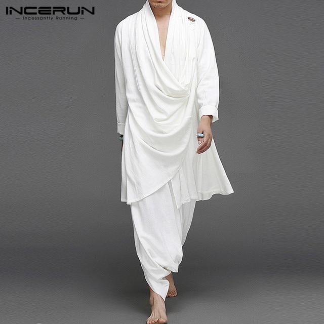 INCERUN Solid Color Men Sets Cotton Streetwear Turtleneck Long Sleeve Irregular Cloak Coats Drop Crotch Pants Vintage Mens Suits 1