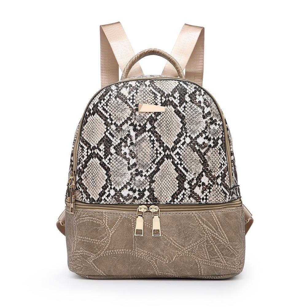 2019 Fashion Women Backpack Snake Leather Backpacks For Teenage Girls Female Khaki Shoulder Bag