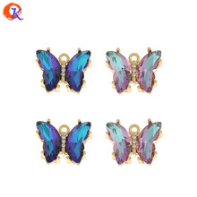 Design cordial 50 pçs 15*19mm acessórios de jóias/encantos de cristal/feito à mão/forma de borboleta/diy fazendo/pingente/brinco descobertas