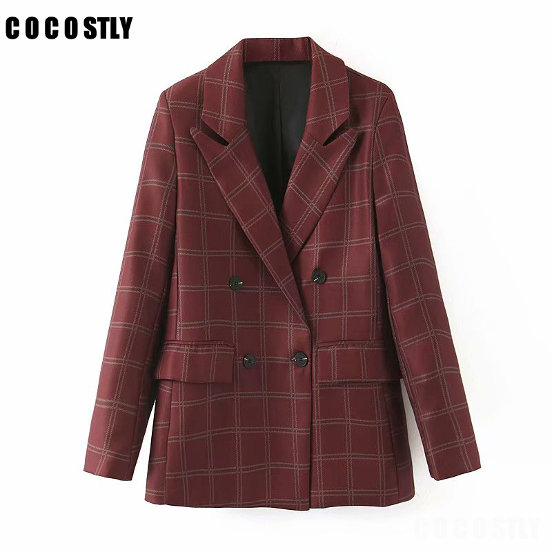 Vintage Double Breasted Plaid OL Blazers Women Coat Fashion Long Sleeve Office Ladies Outerwear Casual Workwear Jacket Tops