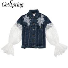 Getspring Wanita Denim Jaket Denim Mantel Renda Mantel Puff Sleeve Wanita Jaket Jeans Bunga Jeans Top Wanita Mantel Musim Gugur(China)