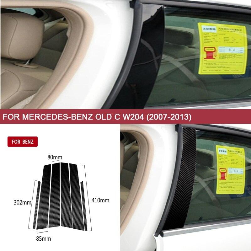 6 pièces/ensemble de moulage de fenêtre de voiture B piliers revêtement d'habillage en Fiber de carbone pour mercedes-benz vieux C W204 (2007-2013) accessoires Auto