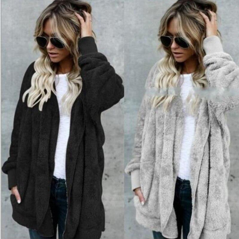 Moxeay Plus Size Plush Hooded Sweatershirt Coats Long Sleeve Warm Cardigan Outwear Teddy Cozy Jacket Fashion Women Autumn Winter