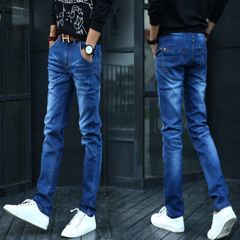 2018 Autumn MEN'S Jeans Teenager Korean-style Skinny Skinny Long Pants Fashion Students Elasticity Slim Women's