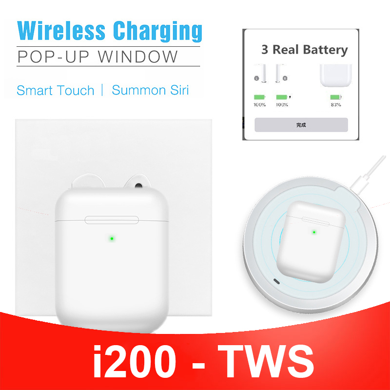 Smart Sensor I200 Tws Original Air 2 Wireless Bluetooth Headphone 1:1 In-ear Detection Wireless Charging PK I100 I60 I12 I10 Tws
