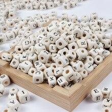 50-200 Teile/los 8mm 10mm Quadratischen Holz Alphabet Brief Anzahl Diy Perlen Baby Glatte Beißring Für Schmuck machen Zubehör