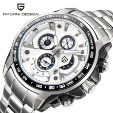 PAGANI DESIGN Watch Full Stainless Steel Men Sport Chronograph