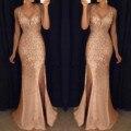 Высокий разрез платье Для женщин с блестками для выпускного вечера вечерние элегантные леди костюм с сексуальным вырезом и открытой спиной...