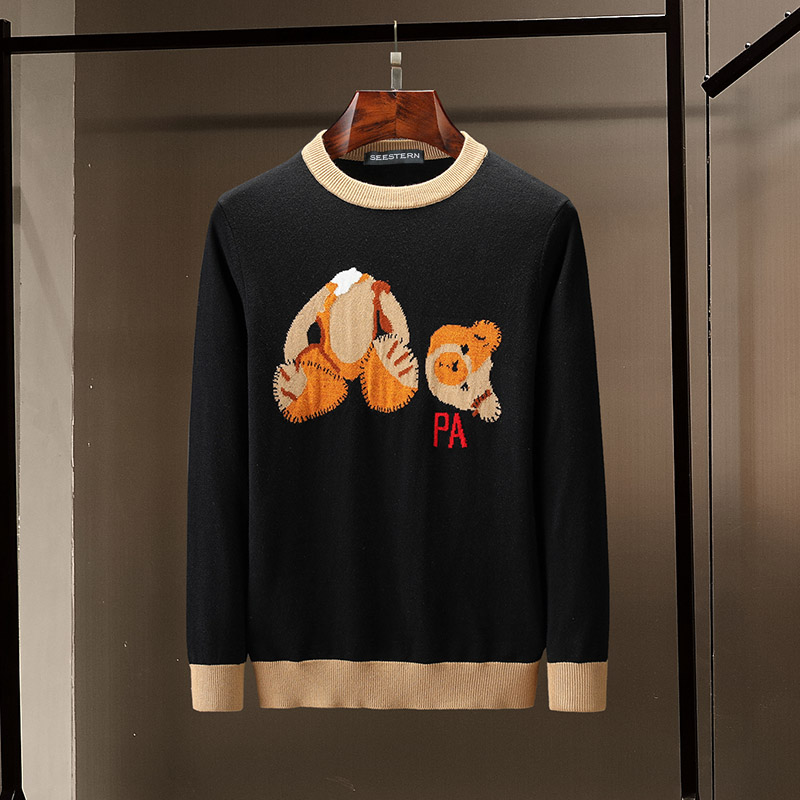 Seestern Brand New Men's Sweater Autumn Winter Warm Pullover Knitted Teddy Bear Letter PA Fashion Color Matching Stripe Sweater
