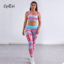 Cyiexi размера плюс tie dye комплект леггинсов для бега женские