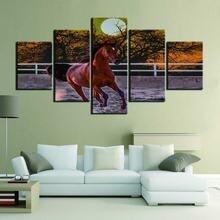 Модульная 5 панелей для бега лошадей животных картина холст