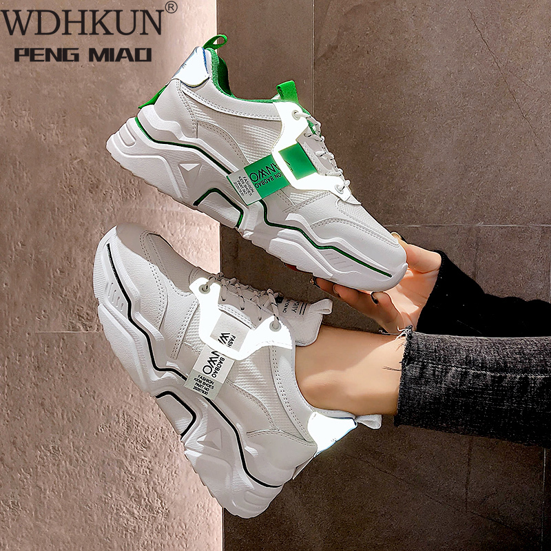 Soft Casual Thick Sneaker Platform Summer Breathable Mesh Women's Shoes Flat Casual Yellow Sports Shoes Female Orange 2020