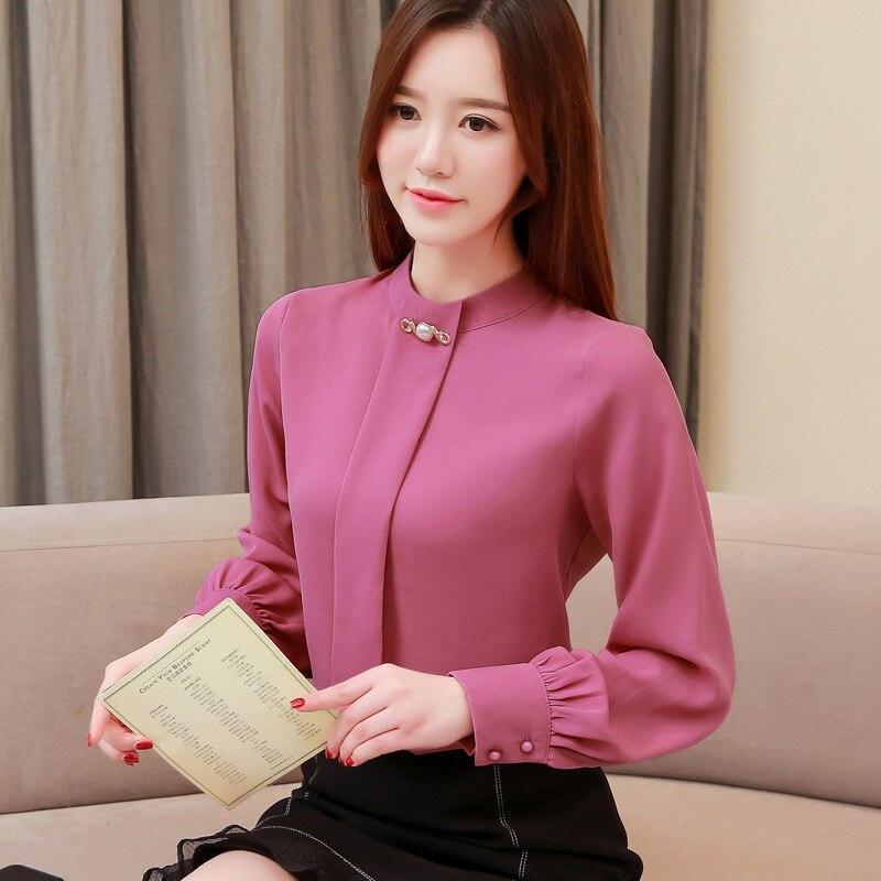 Autumn 2019 Women White Chiffon Blouse Casual Korean Slim Shirt Long Sleeve Shirt Fashion Women Streetwear Elegant Ladies Tops