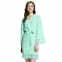 2019 Solid Bride Cotton Kimono Robes with Lace Trim Women Wedding Bridal Bath Robe Bridesmaid Mother of Gift Gown