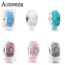 925 prata esterlina grande buraco colorido bolha gota de água de vidro diy contas caber original pandora encantos pulseira para jóias femininas